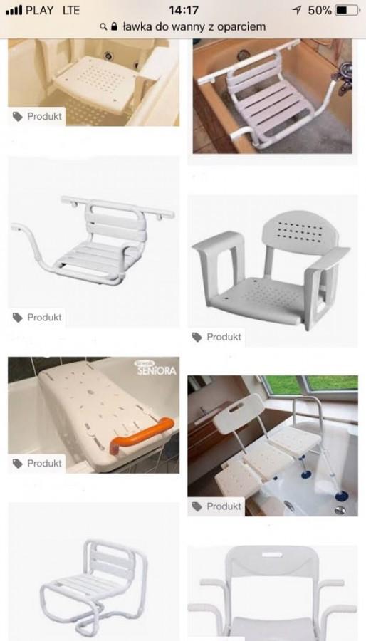 Zrzut ekranu w telefonie, na którym widać zdjęcia ławeczek do wanny w przeglądarce Google.