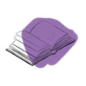 otwarta książka na fioletowym tle