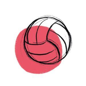 piłka do siatkówki na czerwonym tle
