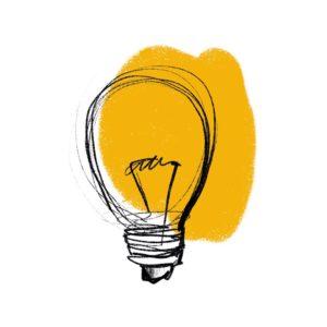żarówka na żółtym tle