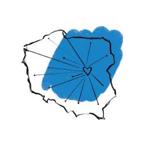 kontury Polski ma niebieskim tle, w miejscu, gdzie jest warszawa znajduje się serce, a od niego odchodzą kreski na wszystkie strony