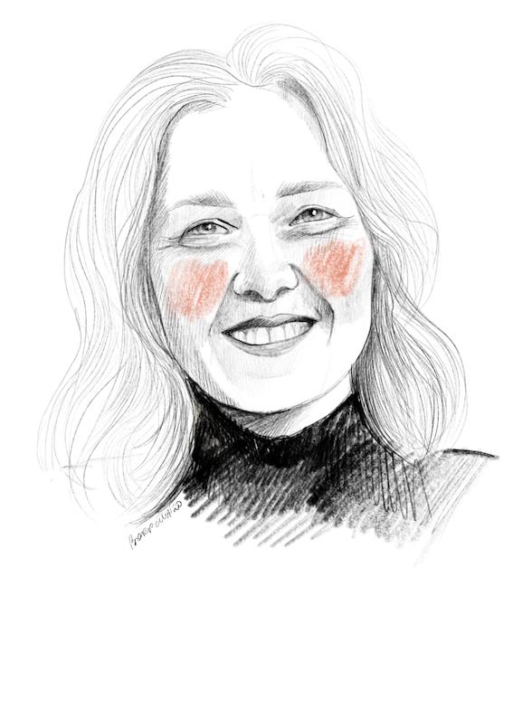Narysowany czarnobiały portret Beaty. Ma rozpuszczone, jasne, średniej długości włosy. Na policzkach zarysowane okrągłymi ruchami pomarańczowe rumieńce.