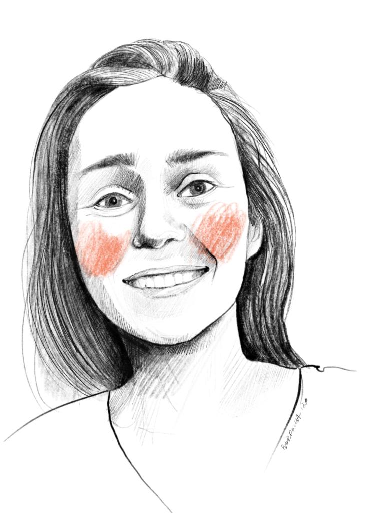 Narysowany czarnobiały portret Dominiki. Ma rozpuszczone, ciemne, długie włosy puszczone za plecami. Na policzkach zarysowane okrągłymi ruchami pomarańczowe rumieńce.