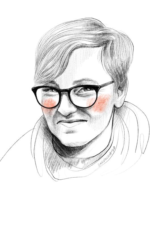 Narysowany czarnobiały portret Katarzyny. Ma krótkie włosy zaczesane na bok i okulary z dużymi, ciemnymi oprawkami. Na policzkach zarysowane okrągłymi ruchami pomarańczowe rumieńce.