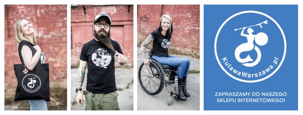 kolaż zdjęć przedstawiających razy osoby w koszulkach fundacji, z toreb fundacji. Logo fundacji i napis zapraszamy do naszego sklepu internetowego